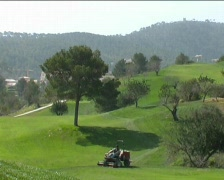 Golfcourse  mowing Stock Footage