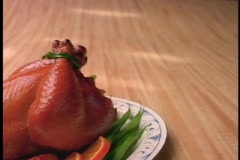 Whole Chicken on Platter - stock footage