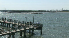 Fishing pier and barge M HD Stock Footage