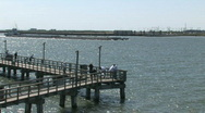 Stock Video Footage of Fishing pier and barge M HD