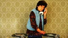 granny dj disco music retired elderlyfun club party awesome - stock footage