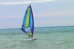 Wind Surfing in Glovers Reef Belize Stock Footage