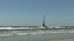 Sailboat off beach zoom M HD - stock footage