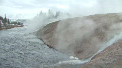 Steam rising over Yellowstone River - stock footage