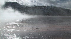 Steam flowing over Yellowstone National Park at dawn - stock footage