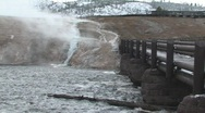 Steam rising over Yellowstone River  Stock Footage