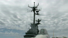 Navy F14 and Lexington superstructure M HD Stock Footage