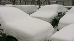 Cars under snow Stock Footage