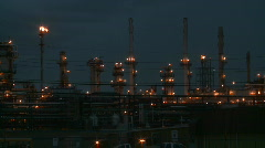 Oil Refinery Flare and Stacks 2 Stock Footage