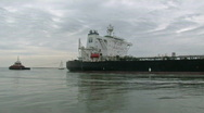 Stock Video Footage of Oil tanker Proteo Corpus Christi tugs track M HD