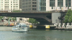 Chicago River Boat Stock Footage