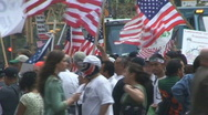 Stock Video Footage of Immigration March with Worker Rights Signs