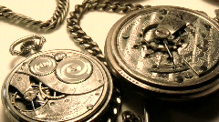 Two old pocket watches closup Stock Footage