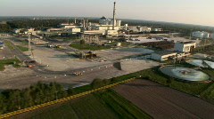 Factory and industrial zone aerial Stock Footage