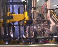 Factory robot cut wires Stock Footage