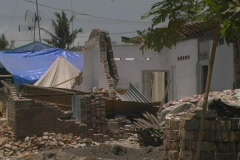 Destroyed house in earthquake 1 Stock Footage