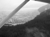 Stock Video Footage of Alaska glacier from air SD BW