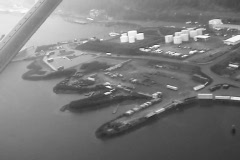 Alaska industrial area from air SD BW Stock Footage