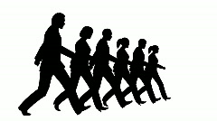6 business people marching  Stock Footage