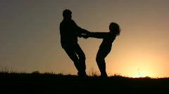Dance couple sunset Stock Footage
