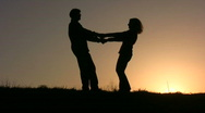Stock Video Footage of dance couple sunset
