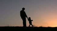 Father rotate girl sunset Stock Footage