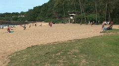 Waimea Bay Beach pan left M HD Stock Footage