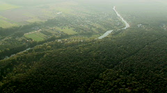 Aerial - river and forest - stock footage