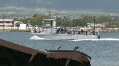 Navy shuttle Pearl Harbor USS Utah wreck Hawaii M HD Stock Footage