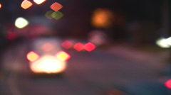Car lights spots boke Stock Footage