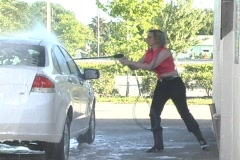 Lovely Blonde Washes Car (3) Stock Footage