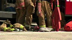 Firefighter gear editorial Stock Footage