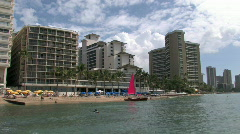 Waikiki Beach Honolulu Hawaii catamaran from water M HD Stock Footage