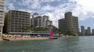 Waikiki Beach Honolulu Hawaii catamaran from water M HD Stock Footage