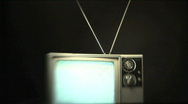 Retro TV With Rabbit Ears Antenna Plays Static Onscreen Stock Footage