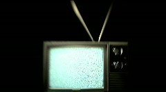 Static TV - Snow Playing on Retro Television with Rabbit Ears Antenna Stock Footage
