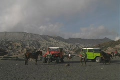 Jeeps infront of Mt. Bromo Stock Footage