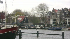 Panning the old port of Amsterdam Stock Footage