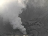 Steaming crator of Mt. Bromo Stock Footage