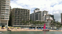 Waikiki Beach pan to Diamondhead 2 M HD Stock Footage
