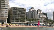Waikiki Beach pan to Diamondhead 2 M HD Stock Footage