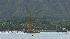 Waikiki Honolulu Hawaii Beach tour catamaran M HD Stock Footage