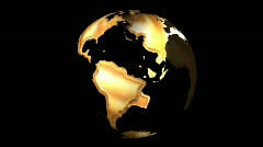 Gold earth globe rotating - digital animation - stock footage