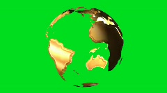 Gold earth globe rotating on green screen - digital animation Stock Footage