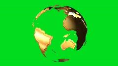 Gold earth globe rotating on green screen - digital animation - stock footage
