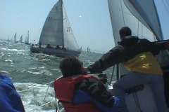 Racing a Sailboat - stock footage
