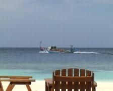 Maldivian Supply ship Stock Footage