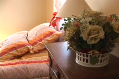 Hotel Colorfull bed room Stock Footage