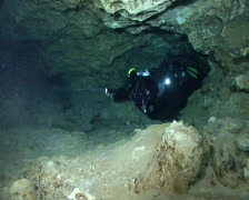 Cave diving - stock footage