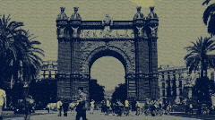 Arc triompe barcelona spain Stock Footage